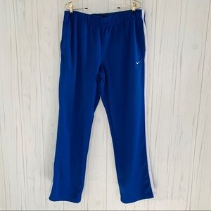 NIKE MENS BLUE & WHITE STRIPED ATHLETIC PANT LARGE